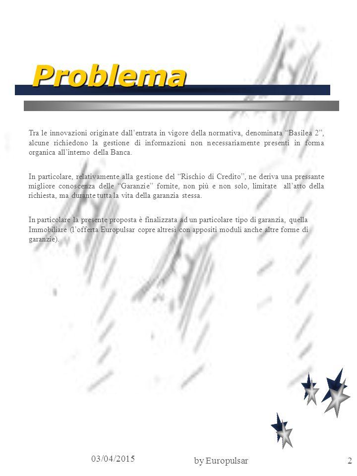 """03/04/2015 by Europulsar2 Problema Tra le innovazioni originate dall'entrata in vigore della normativa, denominata """"Basilea 2"""", alcune richiedono la g"""