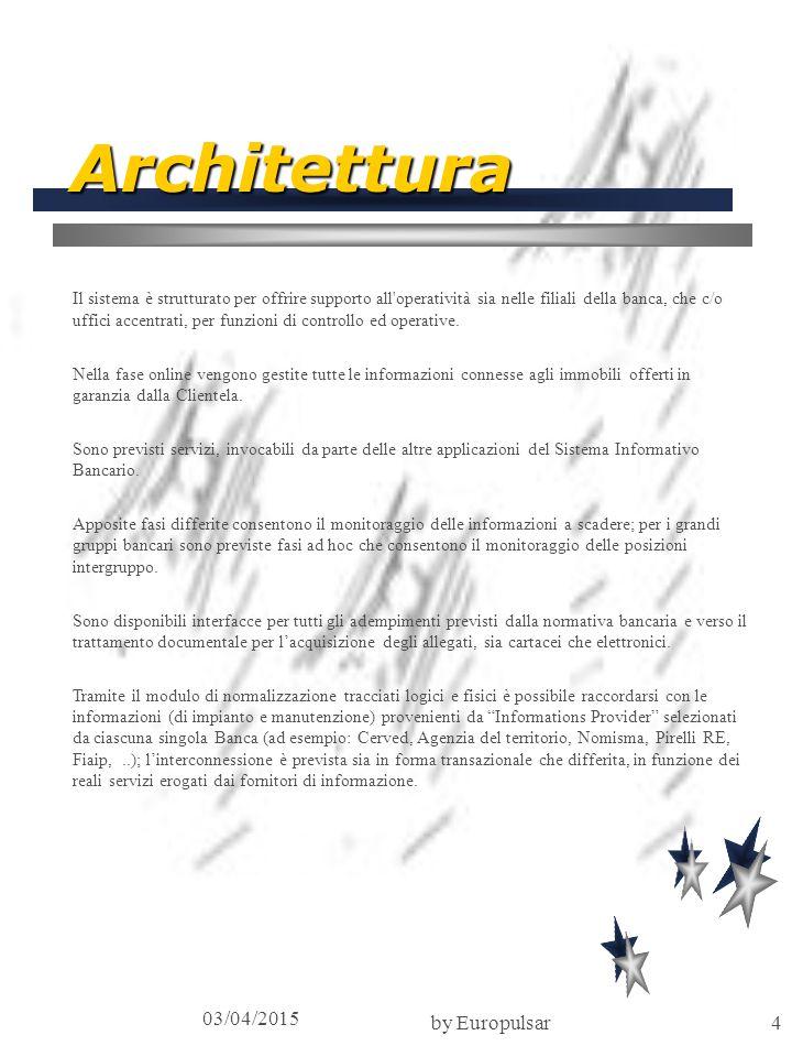 03/04/2015 by Europulsar4 Architettura Il sistema è strutturato per offrire supporto all'operatività sia nelle filiali della banca, che c/o uffici acc