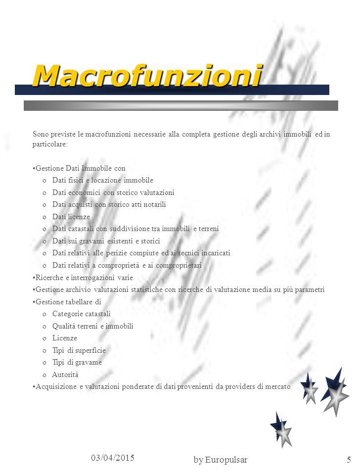 03/04/2015 by Europulsar5 Macrofunzioni Sono previste le macrofunzioni necessarie alla completa gestione degli archivi immobili ed in particolare: Ges