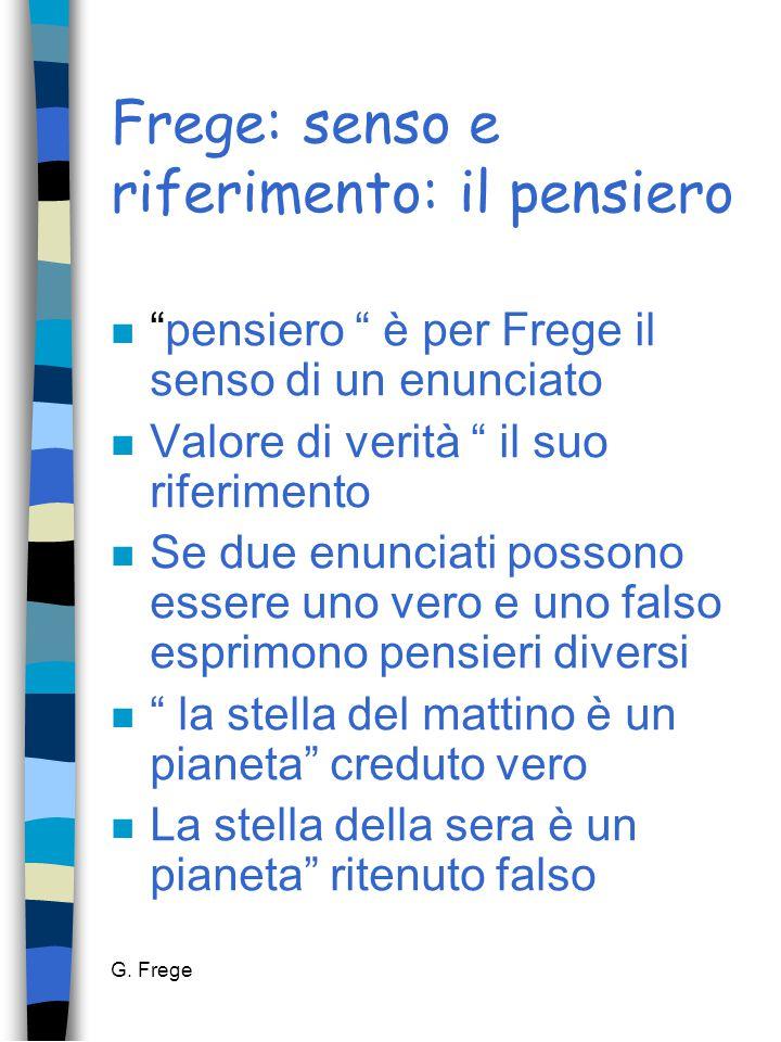 """G. Frege Frege: senso e riferimento: il pensiero n """"pensiero """" è per Frege il senso di un enunciato n Valore di verità """" il suo riferimento n Se due e"""