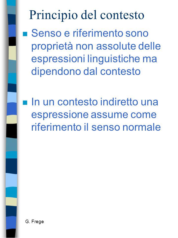 G. Frege Principio del contesto n Senso e riferimento sono proprietà non assolute delle espressioni linguistiche ma dipendono dal contesto n In un con