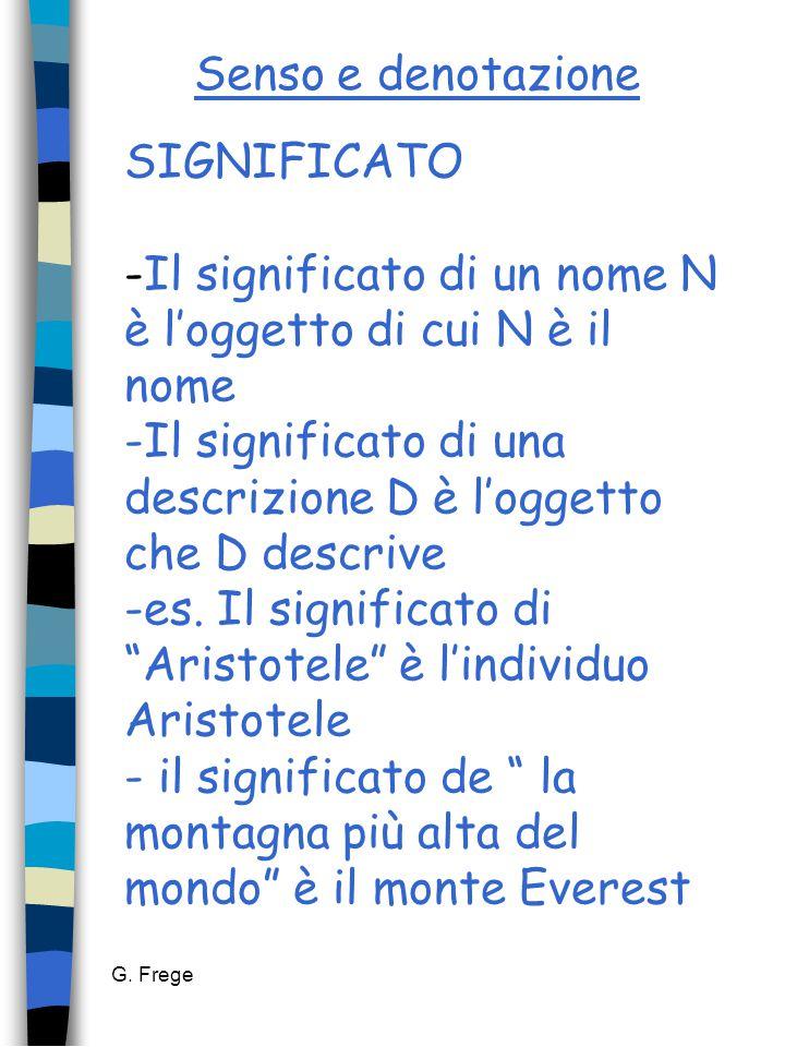 G. Frege Senso e denotazione SIGNIFICATO -Il significato di un nome N è l'oggetto di cui N è il nome -Il significato di una descrizione D è l'oggetto