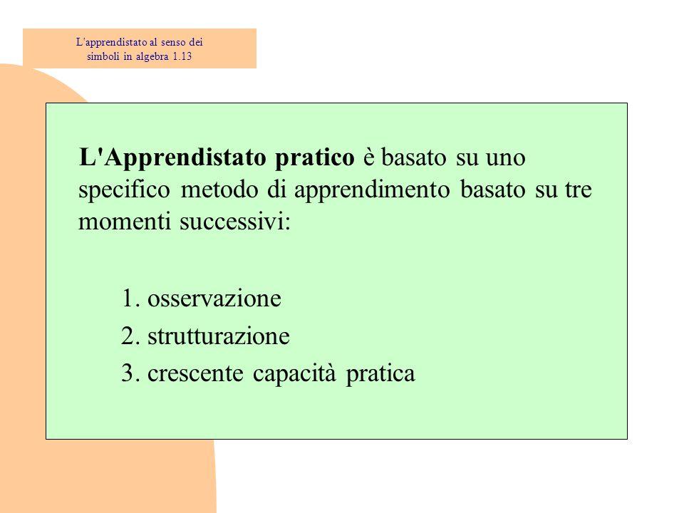 L Apprendistato pratico è basato su uno specifico metodo di apprendimento basato su tre momenti successivi: 1.