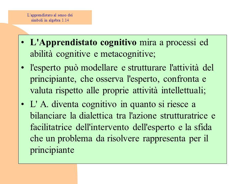 L Apprendistato cognitivo mira a processi ed abilità cognitive e metacognitive; l esperto può modellare e strutturare l attività del principiante, che osserva l esperto, confronta e valuta rispetto alle proprie attività intellettuali; L A.
