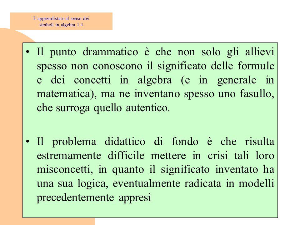 Il punto drammatico è che non solo gli allievi spesso non conoscono il significato delle formule e dei concetti in algebra (e in generale in matematica), ma ne inventano spesso uno fasullo, che surroga quello autentico.