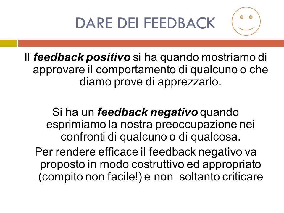 DARE DEI FEEDBACK Il feedback positivo si ha quando mostriamo di approvare il comportamento di qualcuno o che diamo prove di apprezzarlo.