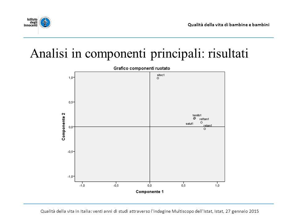 Qualità della vita in Italia: venti anni di studi attraverso l indagine Multiscopo dell Istat, Istat, 27 gennaio 2015 Qualità della vita di bambine e bambini Analisi in componenti principali: risultati