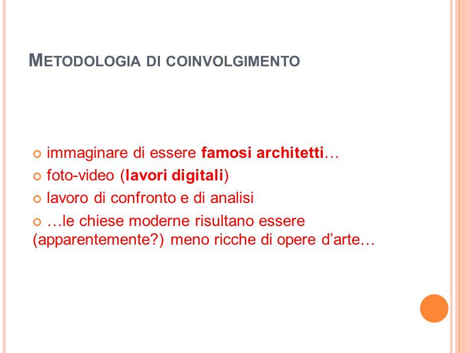 M ETODOLOGIA DI COINVOLGIMENTO immaginare di essere famosi architetti… foto-video (lavori digitali) lavoro di confronto e di analisi …le chiese modern