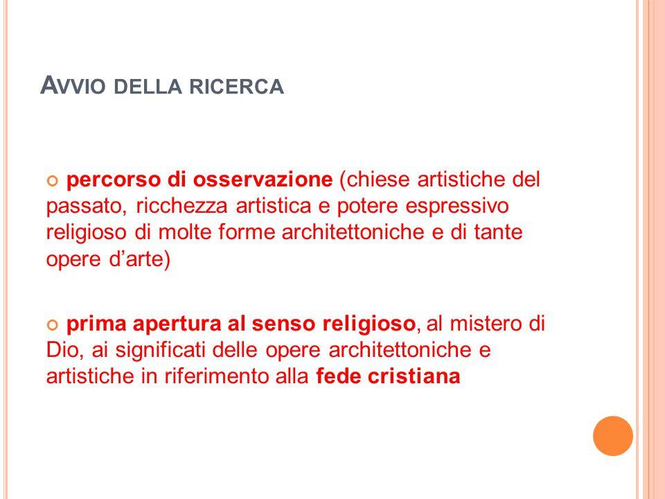 A VVIO DELLA RICERCA percorso di osservazione (chiese artistiche del passato, ricchezza artistica e potere espressivo religioso di molte forme archite