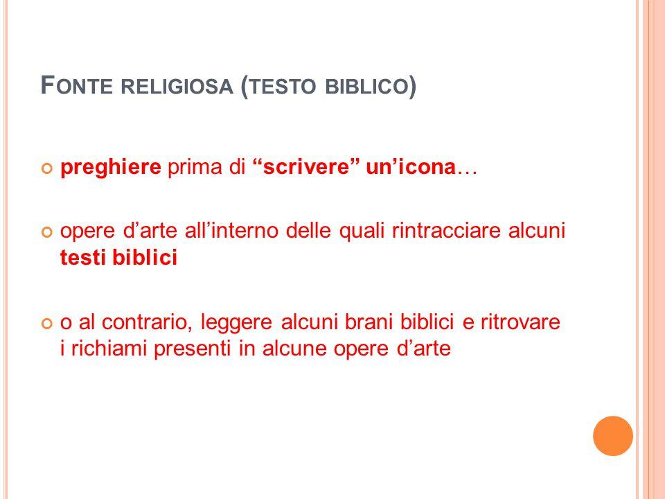 """F ONTE RELIGIOSA ( TESTO BIBLICO ) preghiere prima di """"scrivere"""" un'icona… opere d'arte all'interno delle quali rintracciare alcuni testi biblici o al"""