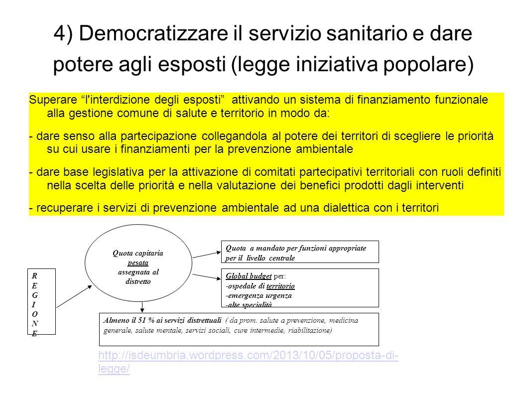 """4) Democratizzare il servizio sanitario e dare potere agli esposti (legge iniziativa popolare) Superare """"l'interdizione degli esposti"""" attivando un si"""