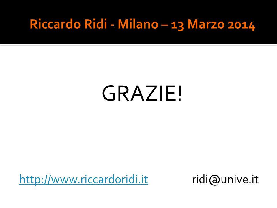 GRAZIE! http://www.riccardoridi.ithttp://www.riccardoridi.it ridi@unive.it