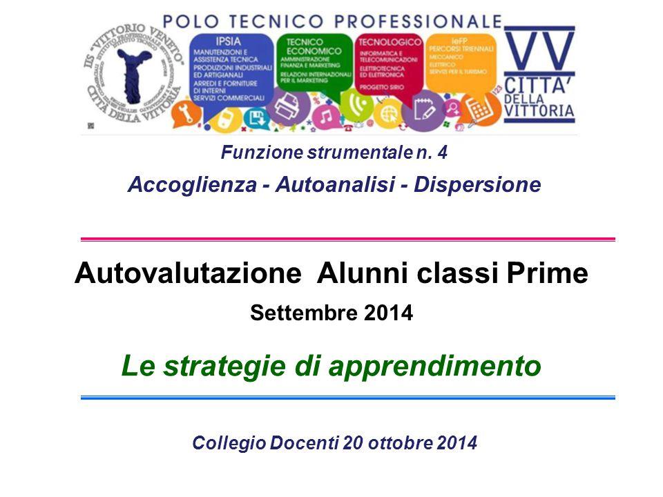 Autovalutazione Alunni classi Prime Settembre 2014 Le strategie di apprendimento Funzione strumentale n.