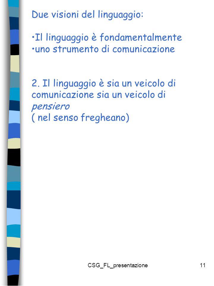 CSG_FL_presentazione11 Due visioni del linguaggio: Il linguaggio è fondamentalmente uno strumento di comunicazione 2.