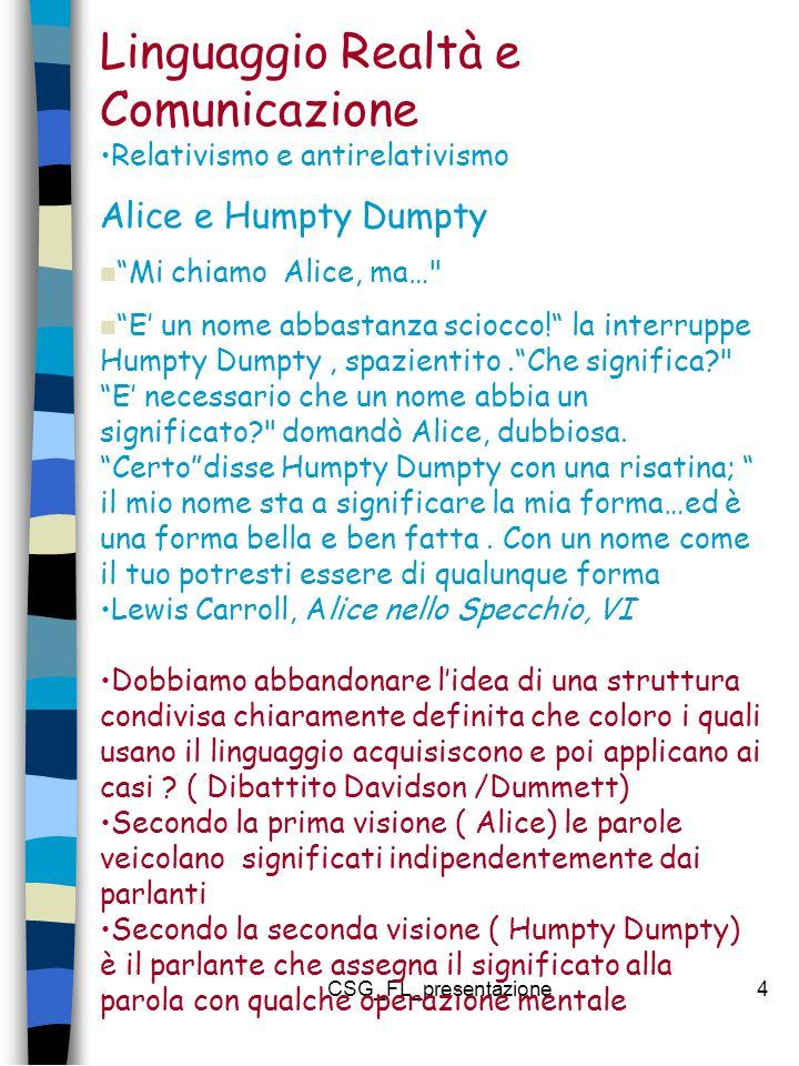 CSG_FL_presentazione4 Linguaggio Realtà e Comunicazione Relativismo e antirelativismo Alice e Humpty Dumpty Mi chiamo Alice, ma… E' un nome abbastanza sciocco! la interruppe Humpty Dumpty, spazientito. Che significa? E' necessario che un nome abbia un significato? domandò Alice, dubbiosa.