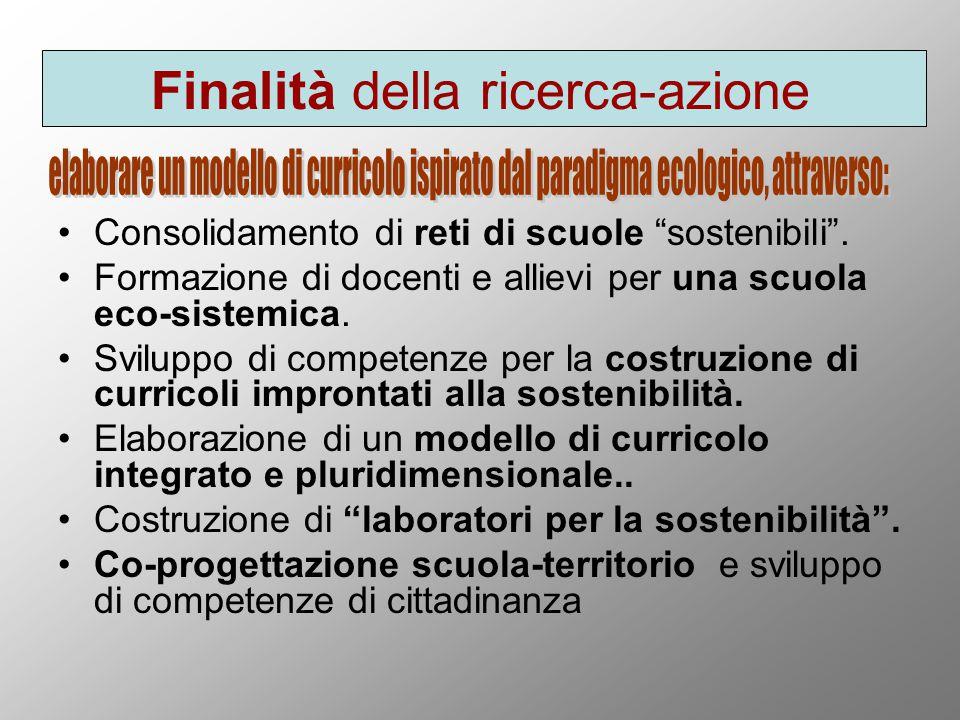 Finalità della ricerca-azione Consolidamento di reti di scuole sostenibili .