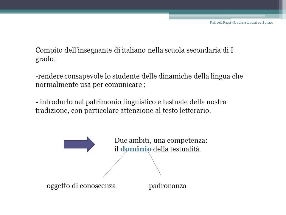 Compito dell'insegnante di italiano nella scuola secondaria di I grado: -rendere consapevole lo studente delle dinamiche della lingua che normalmente