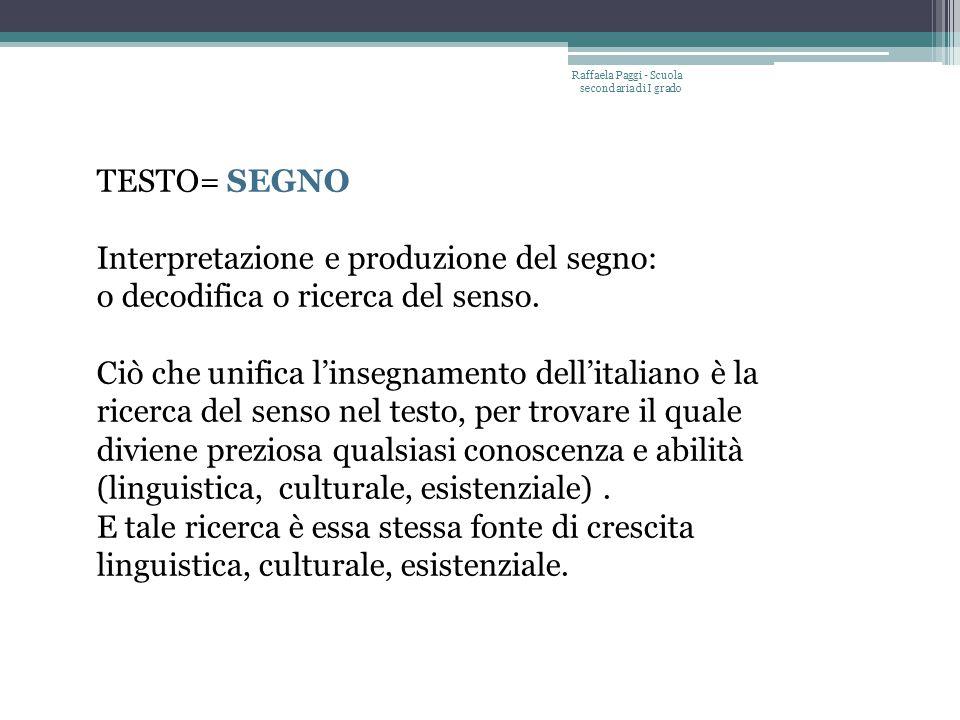 Raffaela Paggi - Scuola secondaria di I grado TESTO= SEGNO Interpretazione e produzione del segno: o decodifica o ricerca del senso.