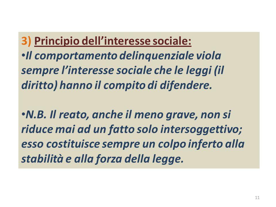 3) Principio dell'interesse sociale: Il comportamento delinquenziale viola sempre l'interesse sociale che le leggi (il diritto) hanno il compito di difendere.