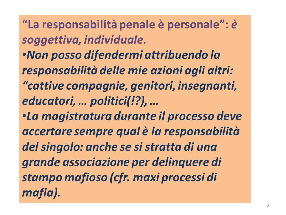 La responsabilità penale è personale : è soggettiva, individuale.