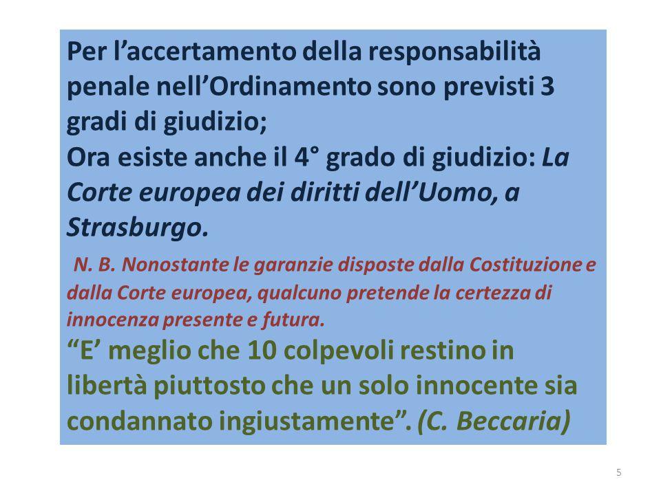 Per l'accertamento della responsabilità penale nell'Ordinamento sono previsti 3 gradi di giudizio; Ora esiste anche il 4° grado di giudizio: La Corte europea dei diritti dell'Uomo, a Strasburgo.