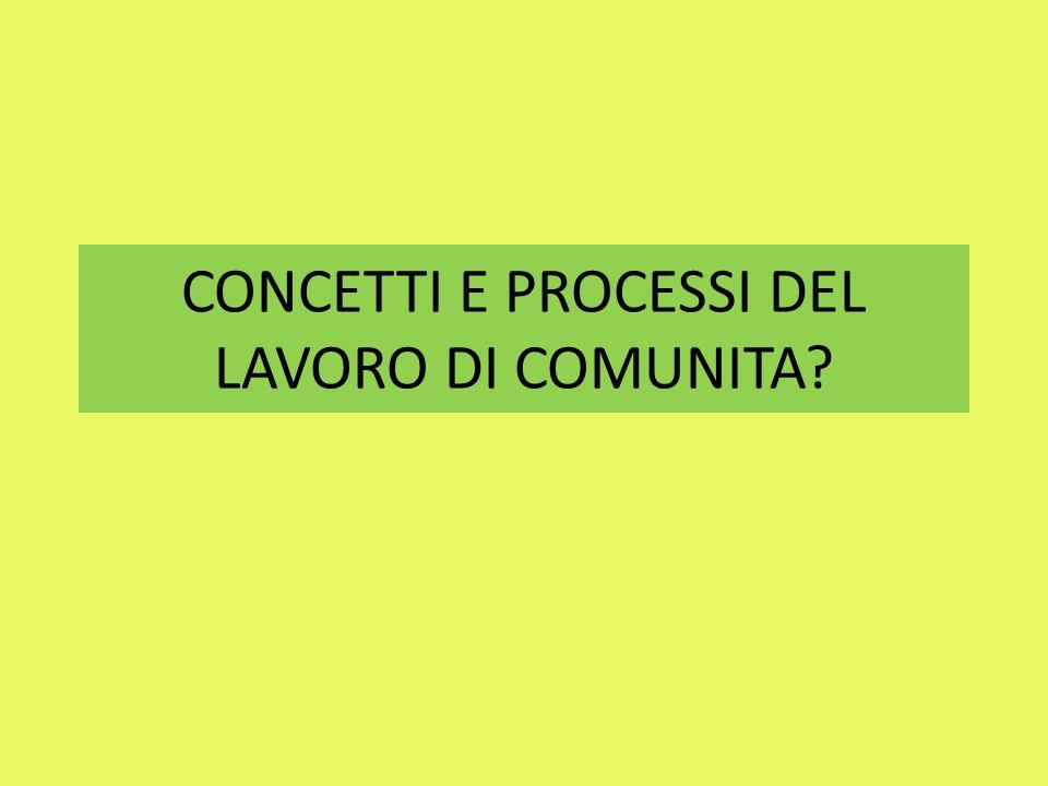CONCETTI E PROCESSI DEL LAVORO DI COMUNITA