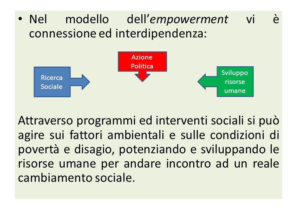 Nel modello dell'empowerment vi è connessione ed interdipendenza: Attraverso programmi ed interventi sociali si può agire sui fattori ambientali e sulle condizioni di povertà e disagio, potenziando e sviluppando le risorse umane per andare incontro ad un reale cambiamento sociale.