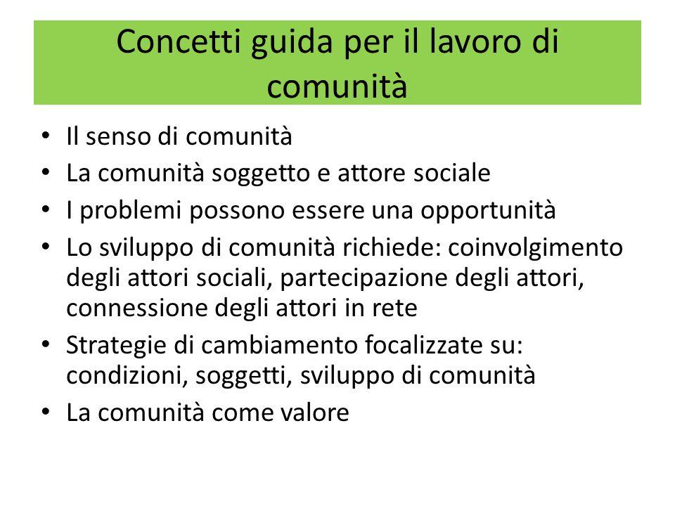 La costruzione di senso di Comunità Il senso di comunità è un insieme di consapevolezza (livello cognitivo) e sentimento (livello emotivo-affettivo) di appartenenza alla comunità.