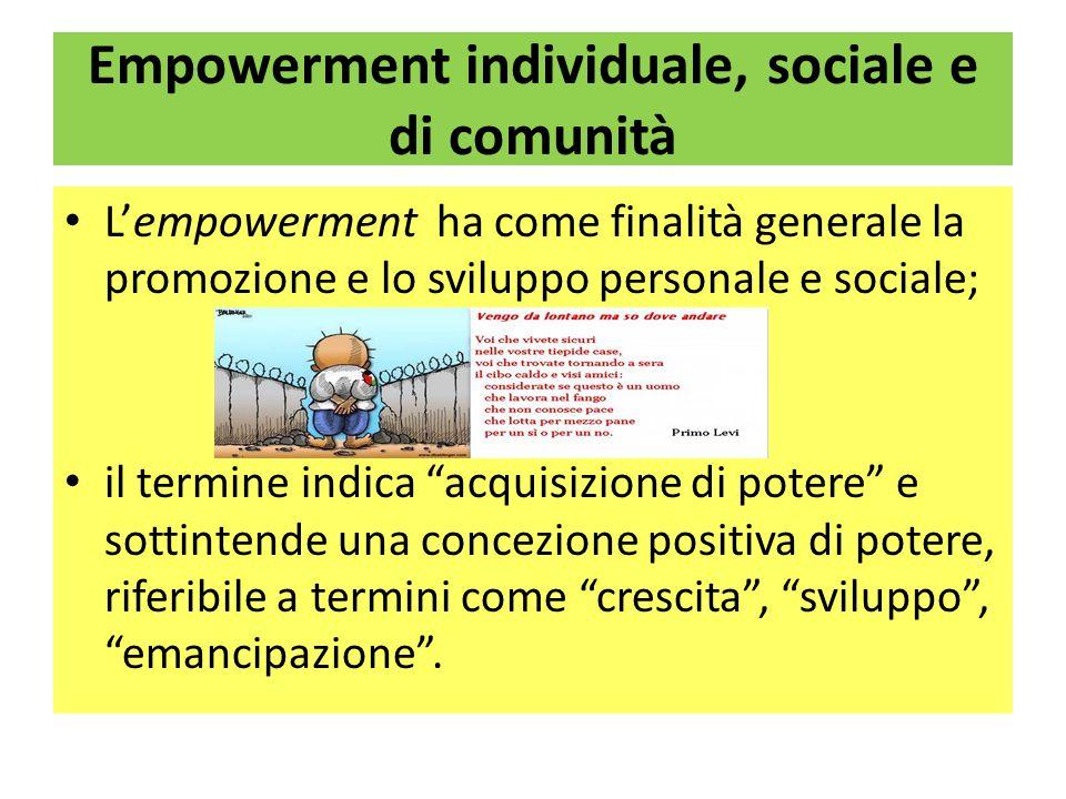 Empowerment individuale, sociale e di comunità L'empowerment ha come finalità generale la promozione e lo sviluppo personale e sociale; il termine indica acquisizione di potere e sottintende una concezione positiva di potere, riferibile a termini come crescita , sviluppo , emancipazione .