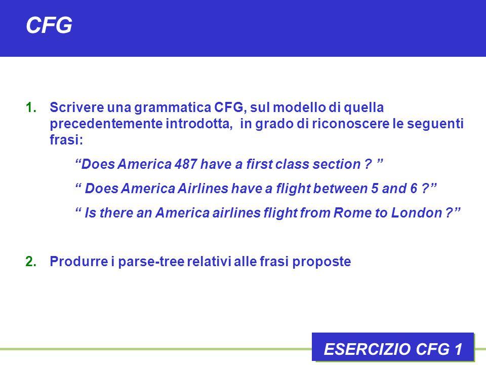 CFG ESERCIZIO CFG 1 1.Scrivere una grammatica CFG, sul modello di quella precedentemente introdotta, in grado di riconoscere le seguenti frasi: Does America 487 have a first class section .
