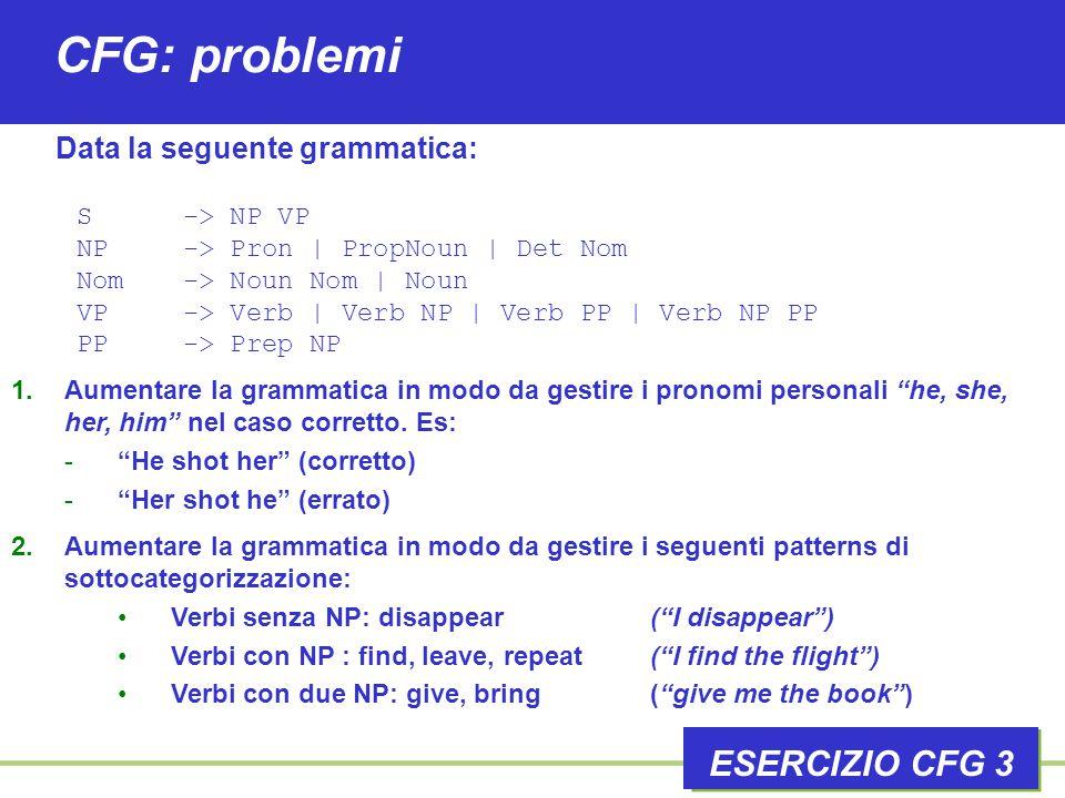 CFG: problemi ESERCIZIO CFG 3 1.Aumentare la grammatica in modo da gestire i pronomi personali he, she, her, him nel caso corretto.
