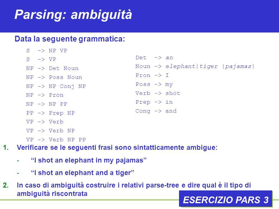 Parsing: ambiguità ESERCIZIO PARS 3 1.Verificare se le seguenti frasi sono sintatticamente ambigue: - I shot an elephant in my pajamas - I shot an elephant and a tiger 2.In caso di ambiguità costruire i relativi parse-tree e dire qual è il tipo di ambiguità riscontrata Data la seguente grammatica: S -> NP VP S -> VP NP -> Det Noun NP -> Poss Noun NP -> NP Conj NP NP -> Pron NP -> NP PP PP -> Prep NP VP -> Verb VP -> Verb NP VP -> Verb NP PP Det -> an Noun -> elephant|tiger |pajamas| Pron -> I Poss -> my Verb -> shot Prep -> in Cong -> and