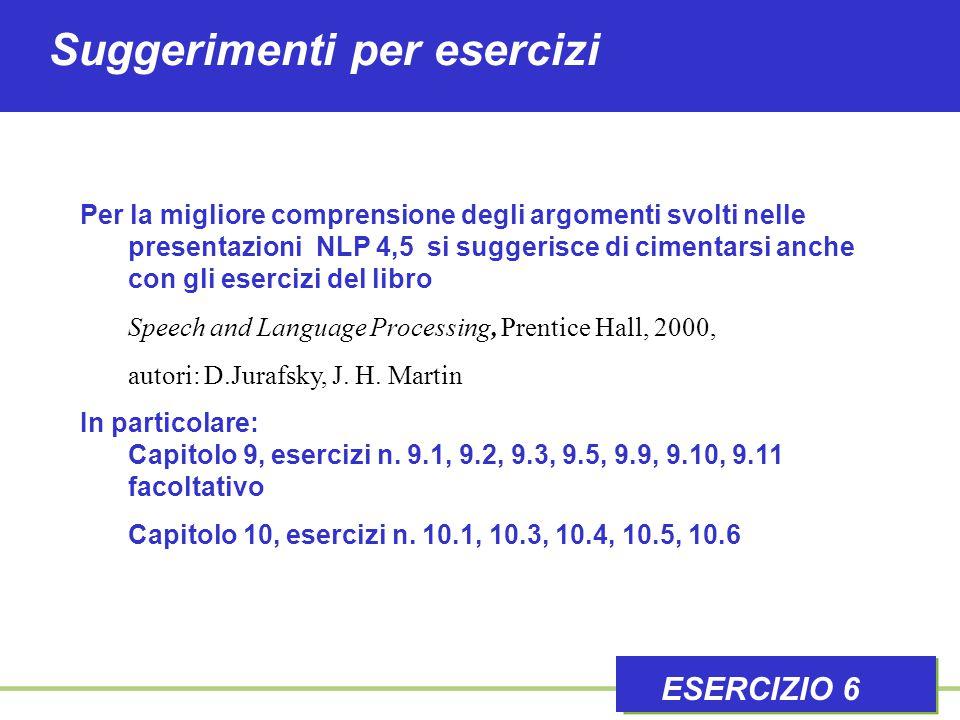 Suggerimenti per esercizi ESERCIZIO 6 Per la migliore comprensione degli argomenti svolti nelle presentazioni NLP 4,5 si suggerisce di cimentarsi anche con gli esercizi del libro Speech and Language Processing, Prentice Hall, 2000, autori: D.Jurafsky, J.