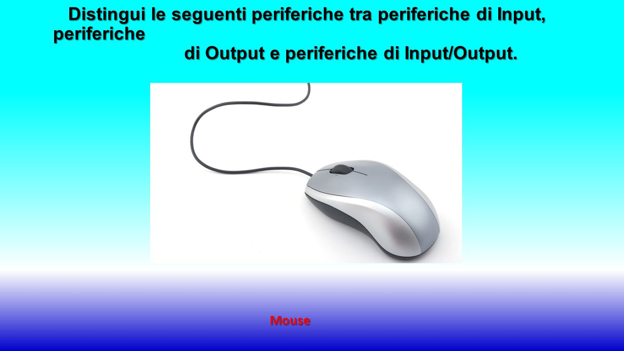 Distingui le seguenti periferiche tra periferiche di Input, periferiche di Output e periferiche di Input/Output.