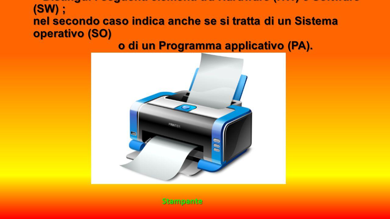 Distingui i seguenti elementi tra Hardware (HW) e Software (SW) ; nel secondo caso indica anche se si tratta di un Sistema operativo (SO) o di un Programma applicativo (PA).