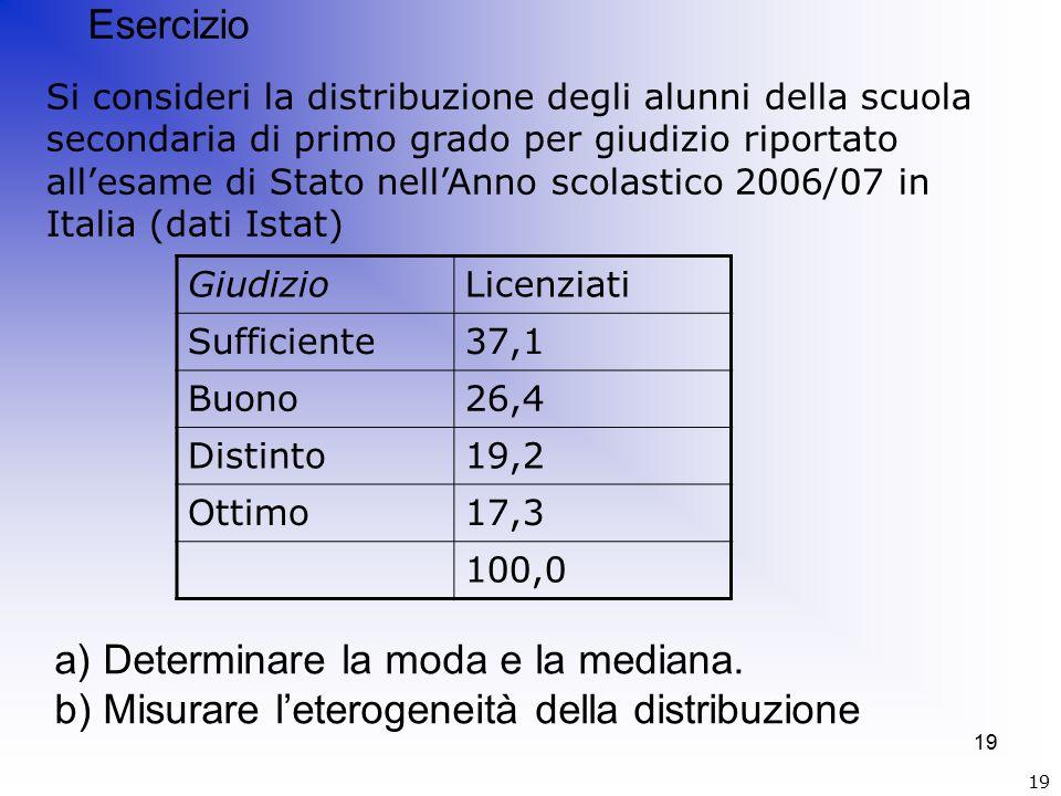 19 GiudizioLicenziati Sufficiente37,1 Buono26,4 Distinto19,2 Ottimo17,3 100,0 Esercizio Si consideri la distribuzione degli alunni della scuola secondaria di primo grado per giudizio riportato all'esame di Stato nell'Anno scolastico 2006/07 in Italia (dati Istat) a) Determinare la moda e la mediana.