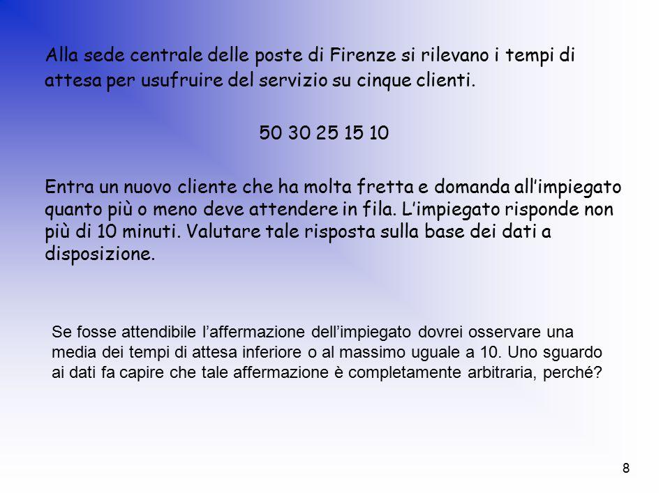 8 Alla sede centrale delle poste di Firenze si rilevano i tempi di attesa per usufruire del servizio su cinque clienti.