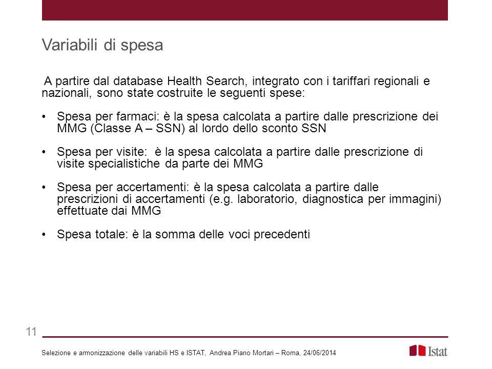 A partire dal database Health Search, integrato con i tariffari regionali e nazionali, sono state costruite le seguenti spese: Spesa per farmaci: è la