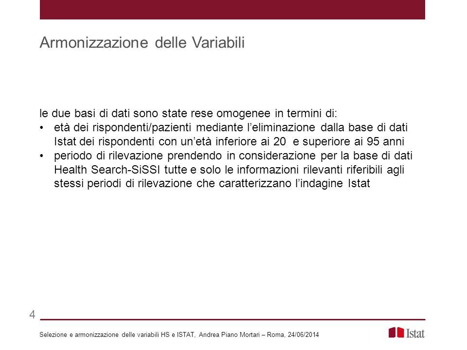 le due basi di dati sono state rese omogenee in termini di: età dei rispondenti/pazienti mediante l'eliminazione dalla base di dati Istat dei risponde