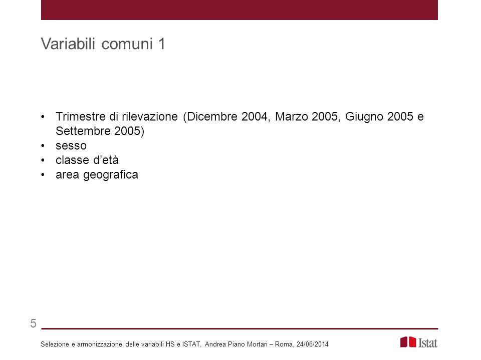 Trimestre di rilevazione (Dicembre 2004, Marzo 2005, Giugno 2005 e Settembre 2005) sesso classe d'età area geografica Selezione e armonizzazione delle