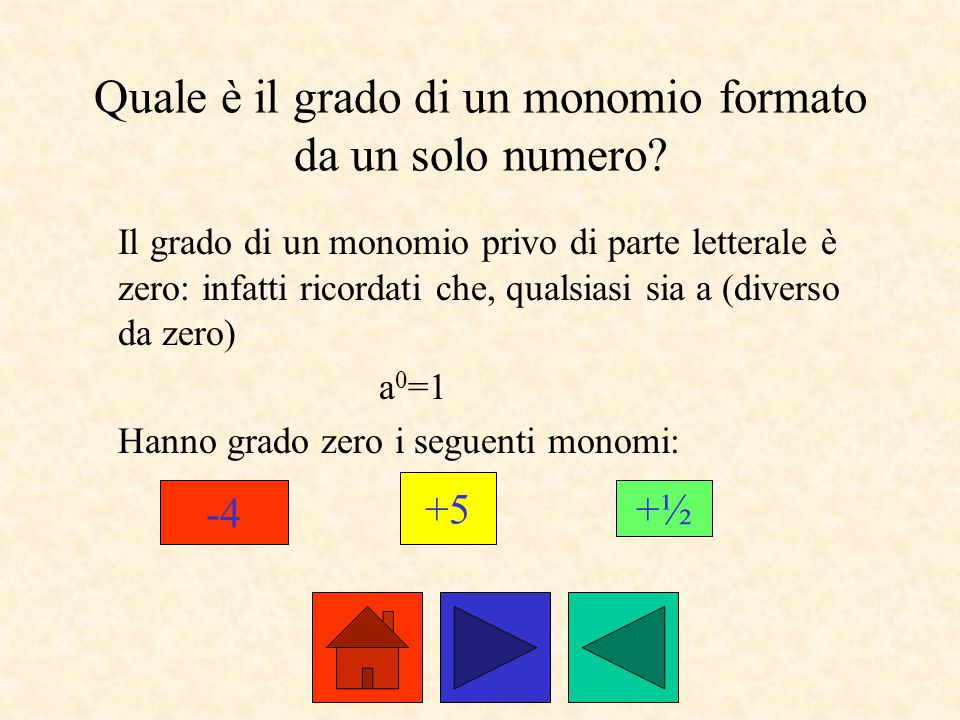 Quale è il grado di un monomio formato da un solo numero? Il grado di un monomio privo di parte letterale è zero: infatti ricordati che, qualsiasi sia