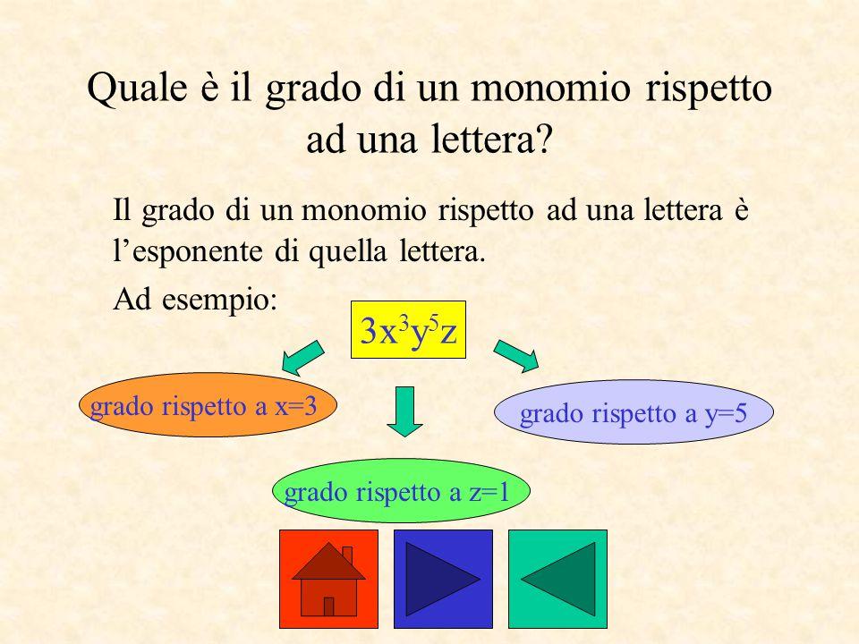 Quale è il grado di un monomio rispetto ad una lettera? Il grado di un monomio rispetto ad una lettera è l'esponente di quella lettera. Ad esempio: 3x