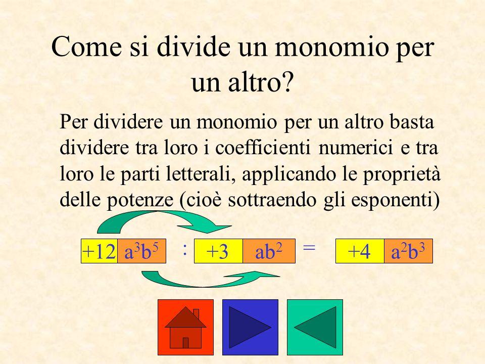 Come si divide un monomio per un altro? Per dividere un monomio per un altro basta dividere tra loro i coefficienti numerici e tra loro le parti lette