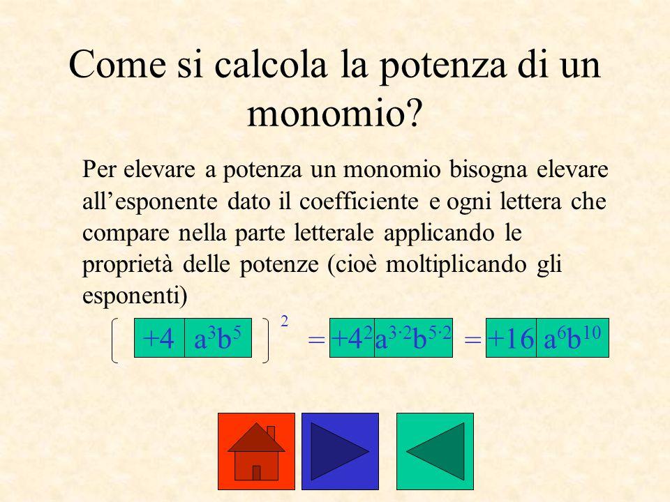 Come si calcola la potenza di un monomio? Per elevare a potenza un monomio bisogna elevare all'esponente dato il coefficiente e ogni lettera che compa