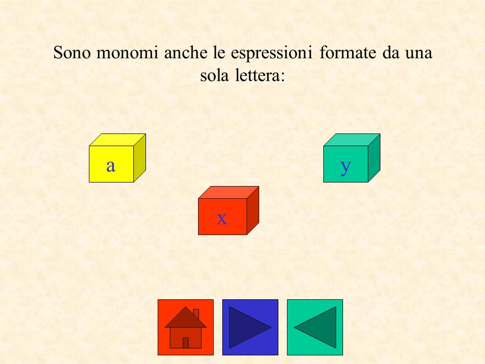 Sono monomi anche le espressioni formate da una sola lettera: a x y