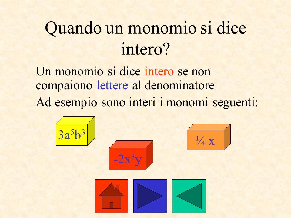 Quando un monomio si dice intero? Un monomio si dice intero se non compaiono lettere al denominatore Ad esempio sono interi i monomi seguenti: 3a 5 b