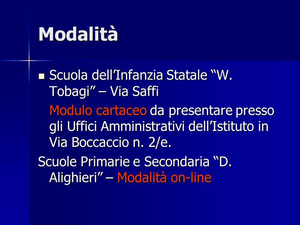 Modalità Scuola dell'Infanzia Statale W.Tobagi – Via Saffi Scuola dell'Infanzia Statale W.