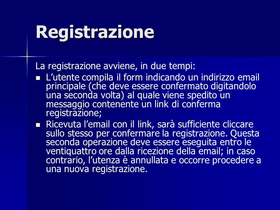 Registrazione La registrazione avviene, in due tempi: L'utente compila il form indicando un indirizzo email principale (che deve essere confermato digitandolo una seconda volta) al quale viene spedito un messaggio contenente un link di conferma registrazione; Ricevuta l'email con il link, sarà sufficiente cliccare sullo stesso per confermare la registrazione.