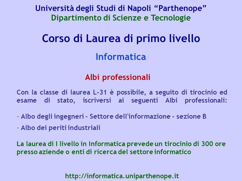 Corso di Laurea di primo livello Informatica Con la classe di laurea L-31 è possibile, a seguito di tirocinio ed esame di stato, iscriversi ai seguent