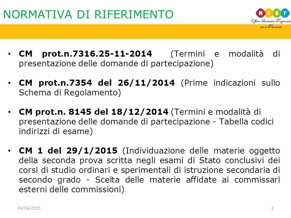 Ufficio Scolastico Regionale per il Piemonte NORMATIVA DI RIFERIMENTO 2 CM prot.n.7316.25-11-2014 (Termini e modalità di presentazione delle domande di partecipazione) CM prot.n.7354 del 26/11/2014 (Prime indicazioni sullo Schema di Regolamento) CM prot.n.